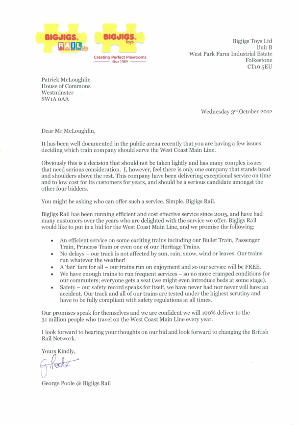 Bigjigs' letter to Secretary of State for Transport