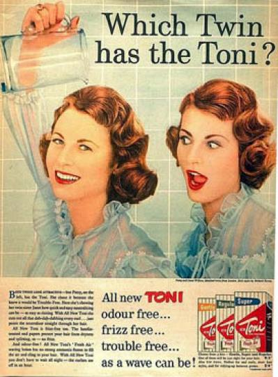 Which Twin has the Toni? press ad.