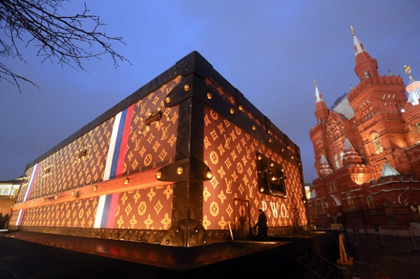 Louis Vuitton suitcase stunt, Red Square, Moscow.